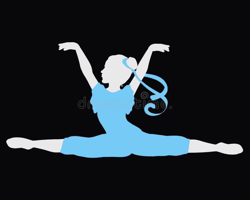 Гибкая девушка в tracksuit с лентой на ее волосах сидит на разделения иллюстрация штока