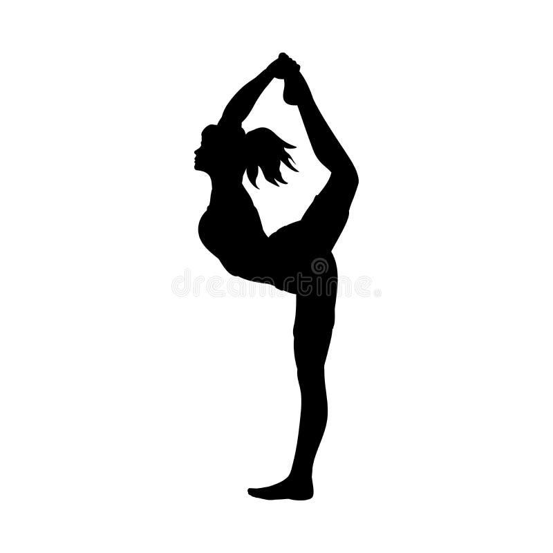 Гибкость разминки представления йоги девушки силуэта бесплатная иллюстрация