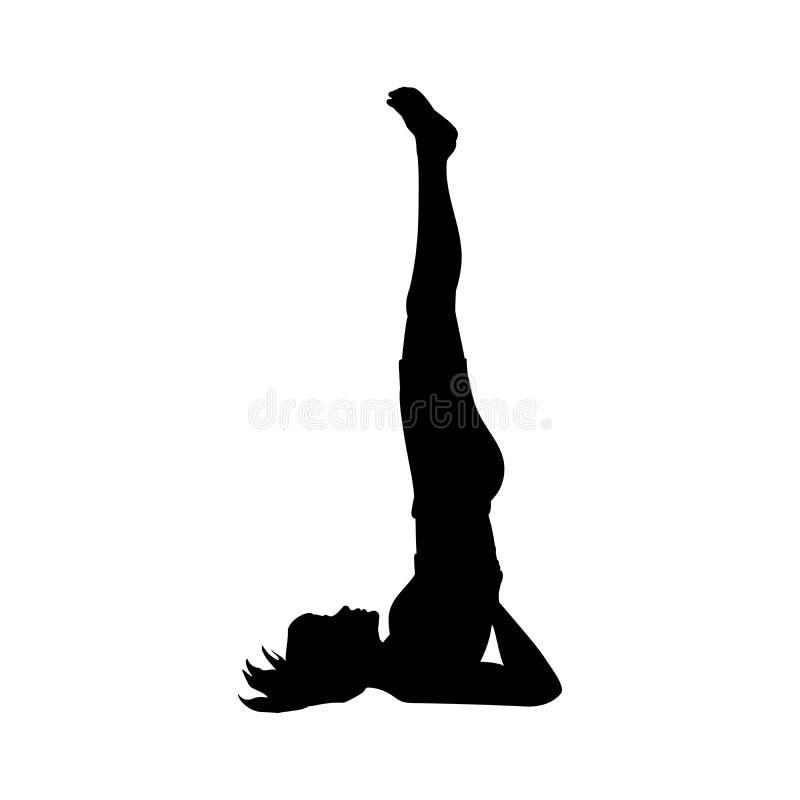 Гибкость тренировки представления йоги девушки силуэта иллюстрация штока