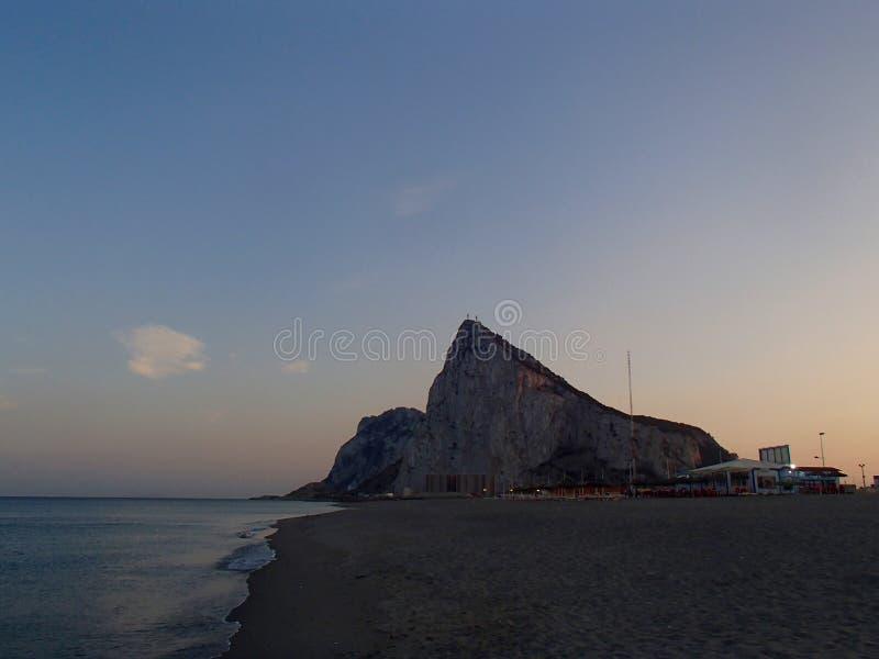 Гибралтар на заходе солнца стоковые изображения
