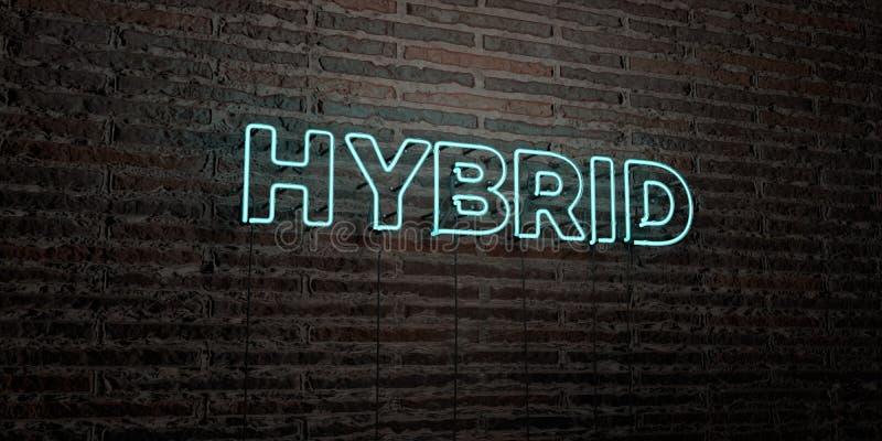 ГИБРИД - реалистическая неоновая вывеска на предпосылке кирпичной стены - представленное 3D изображение неизрасходованного запаса иллюстрация вектора