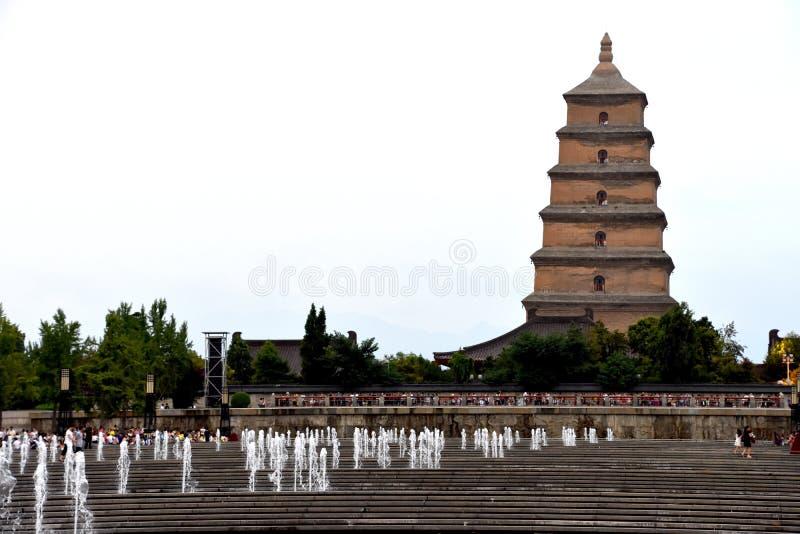 Гигантская дикая пагода Dayan пагоды гусыни, Xian, Китай стоковые изображения