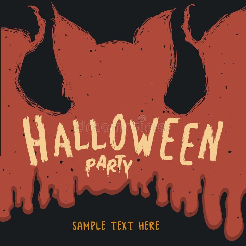 Гигантская летучая мышь хеллоуин с кровопролитным плакатом влияния бесплатная иллюстрация