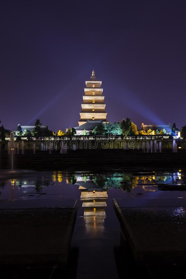 Гигантская одичалая пагода гусыни на Xian, Китае стоковые фотографии rf
