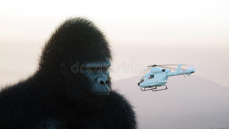 Гигантские горилла и вертолет в джунглях Доисторические животное и изверг Реалистическое мех перевод 3d иллюстрация вектора