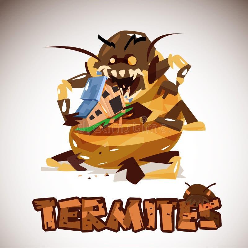 Гигантский изверг термитов есть ваш дом Дизайн характера Typog бесплатная иллюстрация