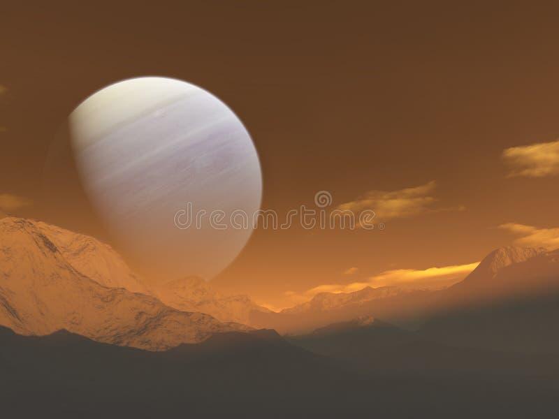 гигантский подъем планеты иллюстрация вектора