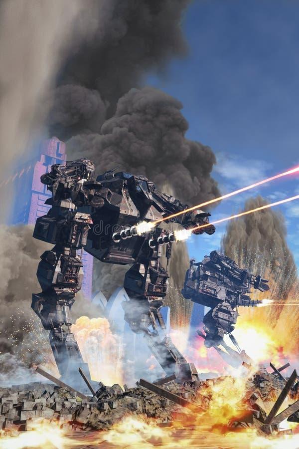 Гигантский робот на сражении иллюстрация вектора