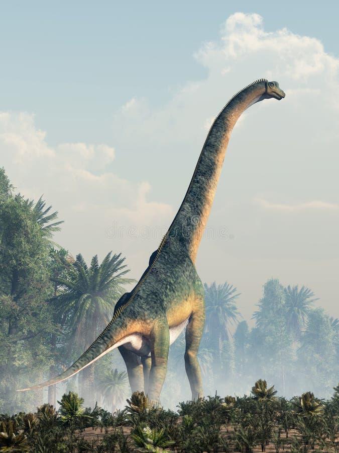 Гигантский Sauropod идя прочь иллюстрация штока