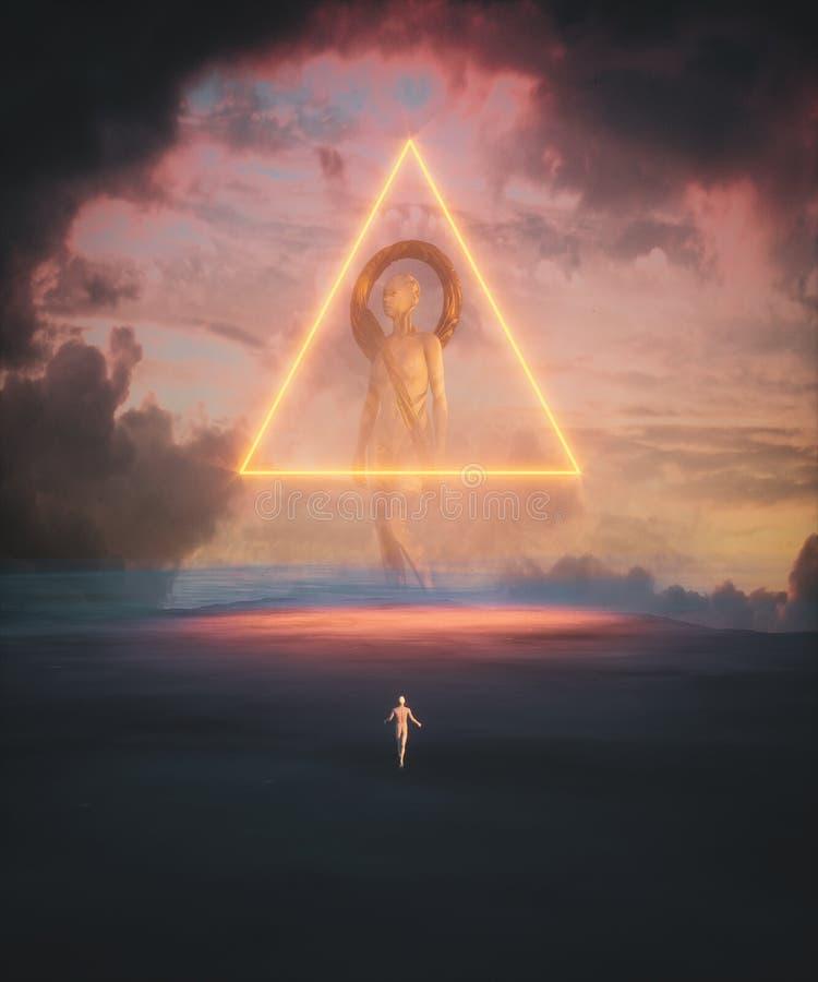 Гигант над заходом солнца стоковое фото rf