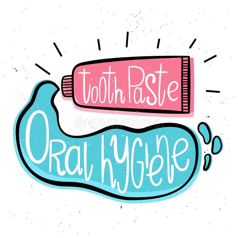 Гигиена полости рта Иллюстрация вектора в нарисованном вручную стиле Зубная паста бесплатная иллюстрация