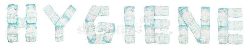 Гигиена слова клала вне пеленки младенца на белую предпосылку, изолят, салфетку, надпись стоковые изображения