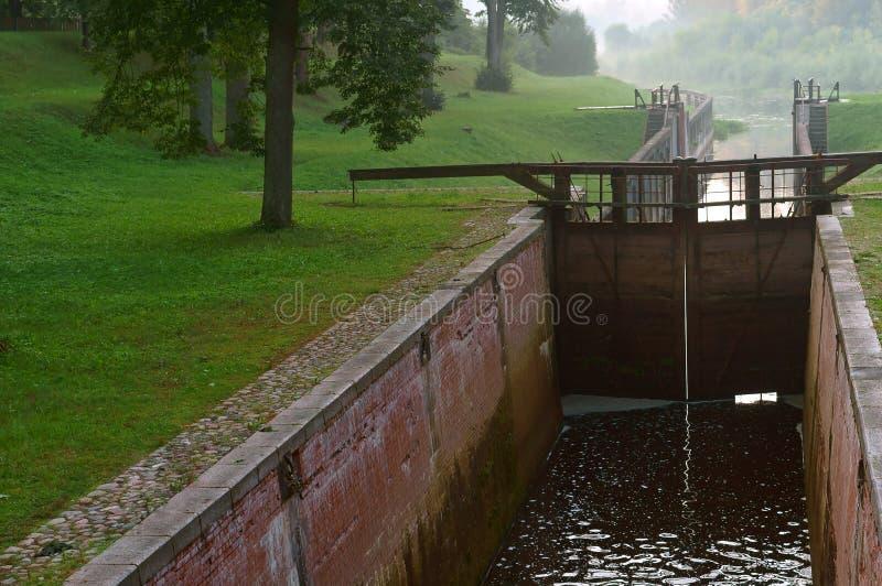 Гидравлическое ворот, регулятор ворот, уровень воды в канале стоковое изображение