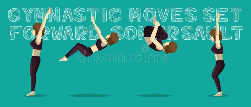 Гимнастические движения установили переднюю иллюстрацию вектора мультфильма Manga прыжка кувырком иллюстрация штока