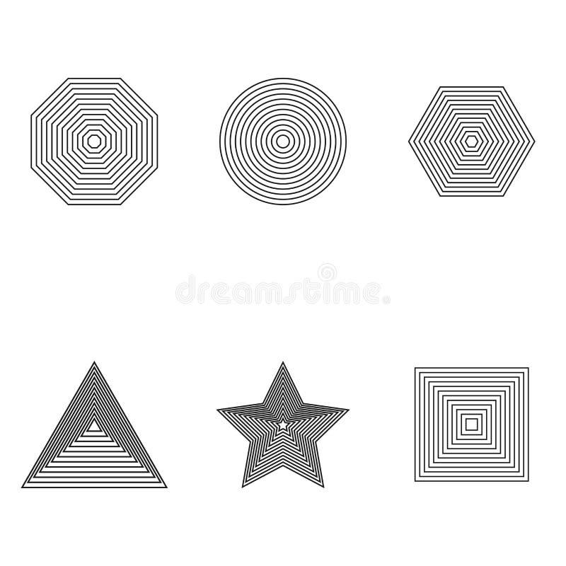 Гипнотические завораживающие изображения конспекта также вектор иллюстрации притяжки corel Геометрический обман зрения Комплект э иллюстрация вектора