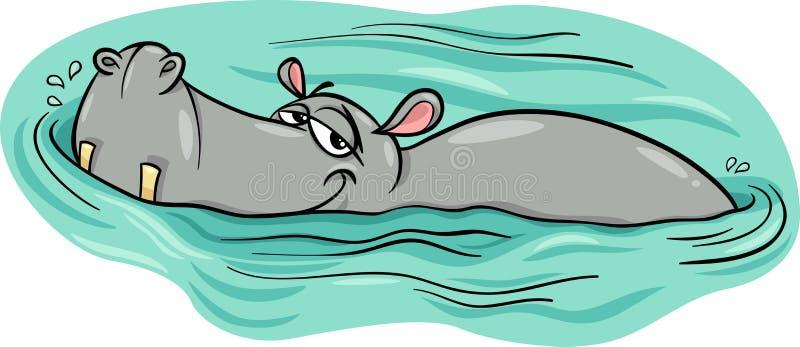 Гиппопотам или бегемот в шарже реки иллюстрация штока