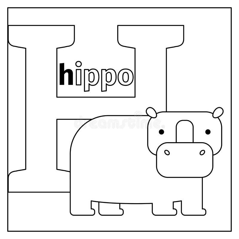 Гиппопотам, страница расцветки h письма иллюстрация штока
