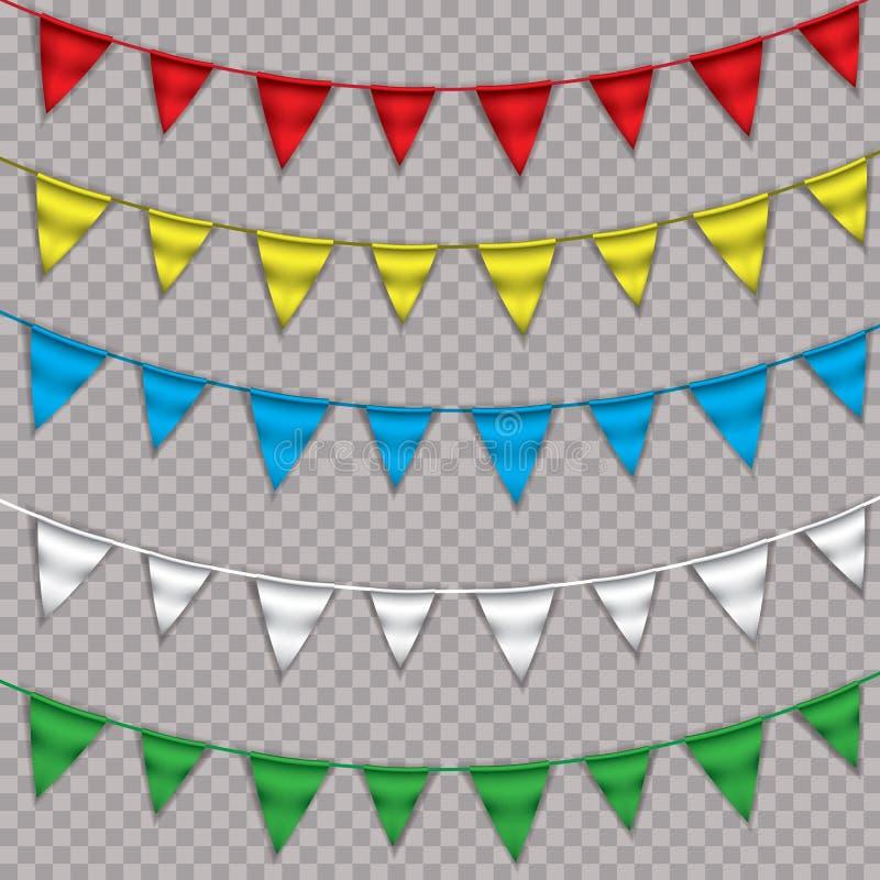 Гирлянда знамени овсянки радуги, изолированная на белой предпосылке, иллюстрация вектора бесплатная иллюстрация