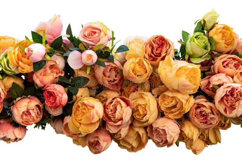 Гирлянда изолированных роз Декоративная гирлянда красочных искусственных роз изолированных на белой предпосылке Украшение роз стоковое фото rf