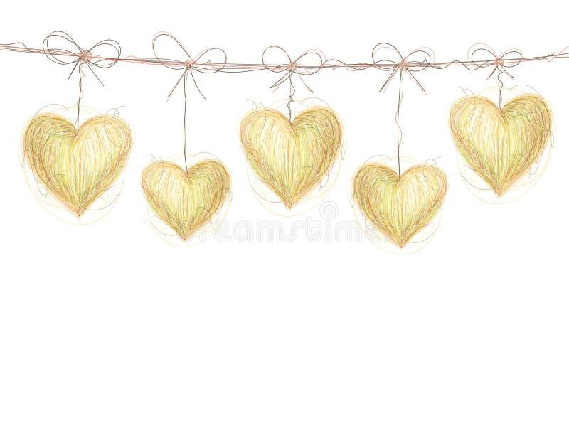 Гирлянда масленицы с сердцами иллюстрация вектора