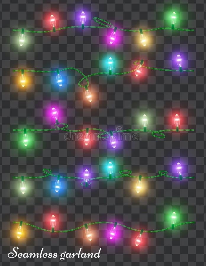 Гирлянда праздника рождества красочная светлая ретро тип Неоновый шов иллюстрация вектора