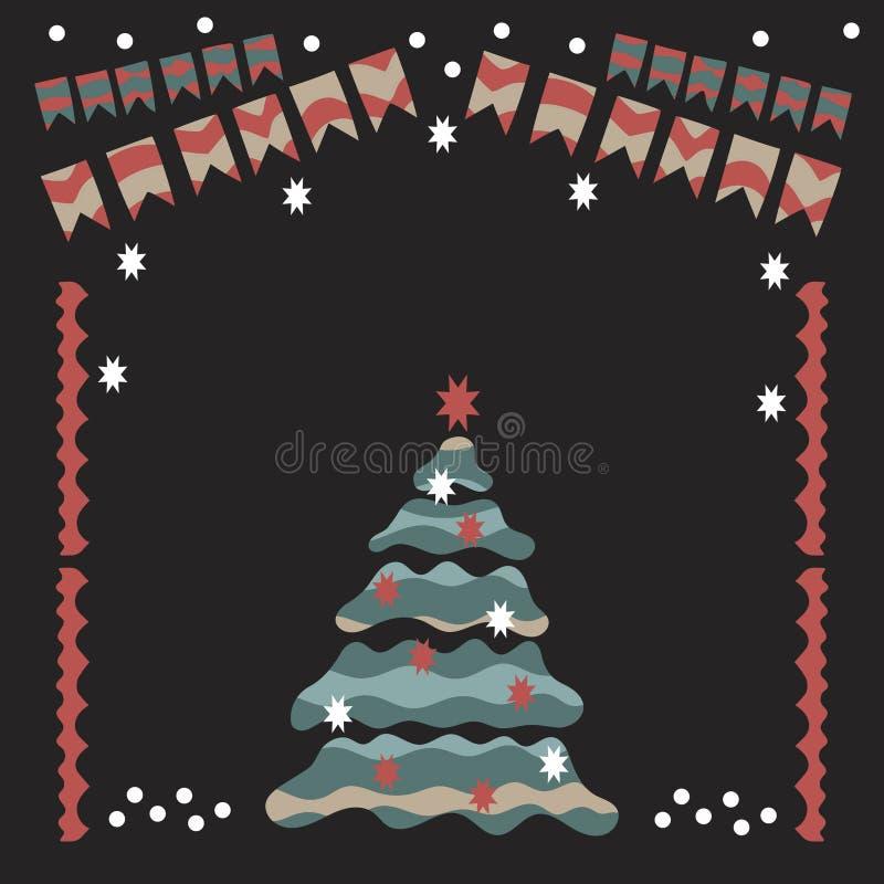Гирлянда рождества, рождественская елка, снег, шарики рождества, носки и другие детали иллюстрация вектора