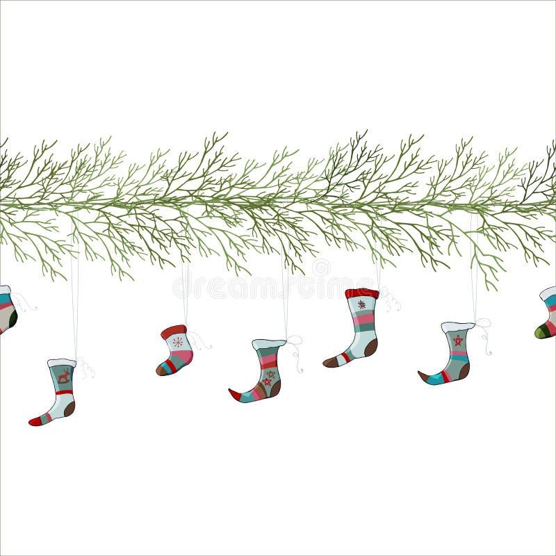 Гирлянда рождества с ботинками бесплатная иллюстрация