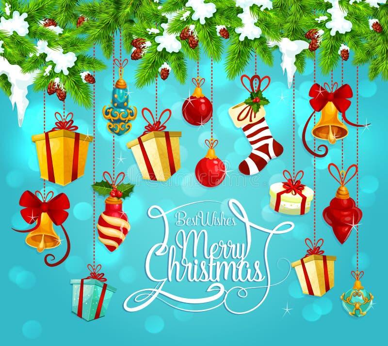 Гирлянда рождества с поздравительной открыткой подарка и колокола бесплатная иллюстрация