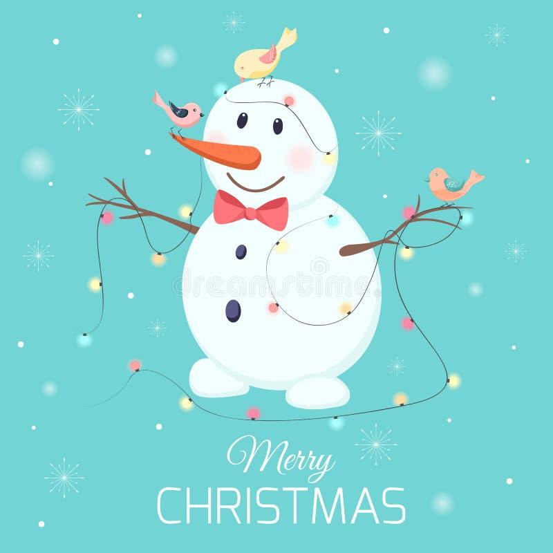 Гирлянда светов птиц характера снеговика рождества бесплатная иллюстрация