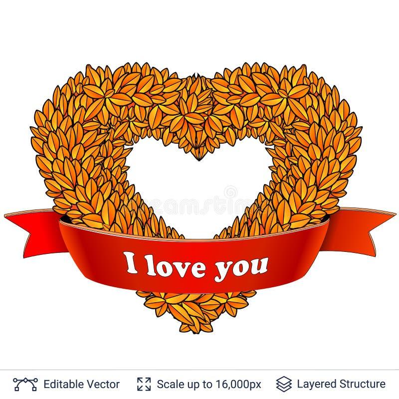 Гирлянда сердца форменная листьев осени иллюстрация вектора
