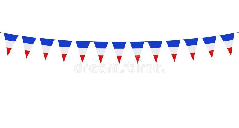 Гирлянда с голубыми белыми красными вымпелами на черной предпосылке иллюстрация штока