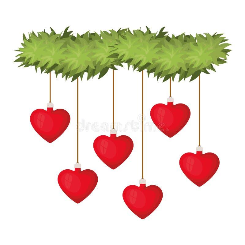 Гирлянда с шариками рождества с формой сердца бесплатная иллюстрация
