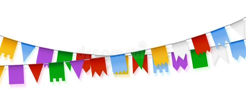 Гирлянды вектора Украшение праздника Установите красочного бумажного garla иллюстрация вектора