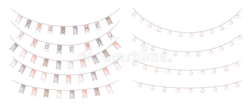 Гирлянды ламп и флагов партии бесплатная иллюстрация