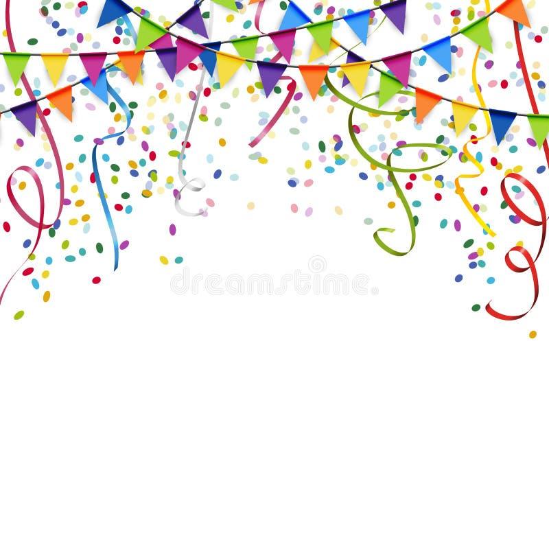 гирлянды, ленты и предпосылка confetti бесплатная иллюстрация