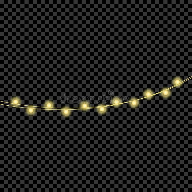 гирлянды Света рождества Реалистический накалять освещает для украшений Xmas и Нового Года вектор иллюстрация штока
