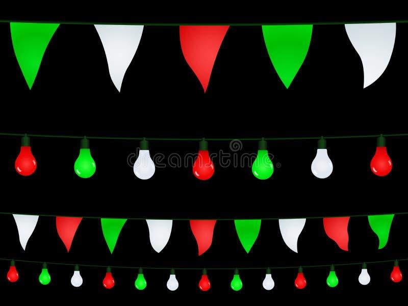 Гирлянды с зелеными шариками белых и красного света на черной предпосылке иллюстрация вектора