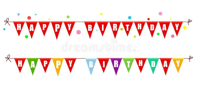 2 гирлянды флагов с днем рождения также вектор иллюстрации притяжки corel иллюстрация вектора