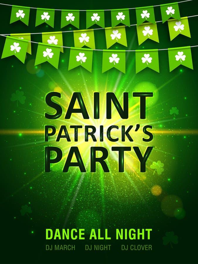 Гирлянда зеленых вымпелов с клевером на сияющей зеленой предпосылке Ирландский день ` s St. Patrick праздника бесплатная иллюстрация