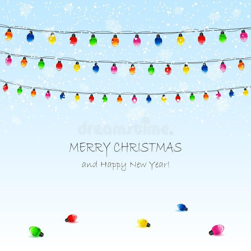 Гирлянда и снег рождества бесплатная иллюстрация