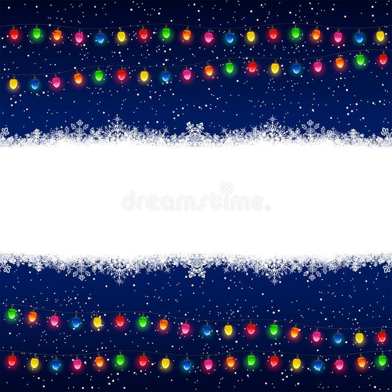 Гирлянда и снежинки рождества иллюстрация вектора