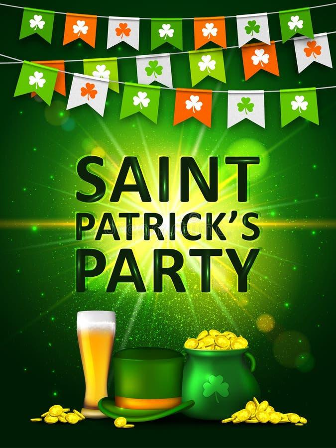 Гирлянда покрашенных вымпелов с клевером, зелеными монетками горшка с золотом, стеклом пива и зеленой шляпой День ` s St. Patrick бесплатная иллюстрация