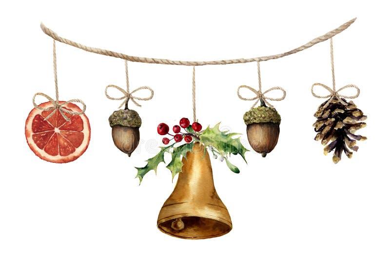 Гирлянда рождества акварели с колоколом, жолудем, конусом сосны и апельсином иллюстрация вектора