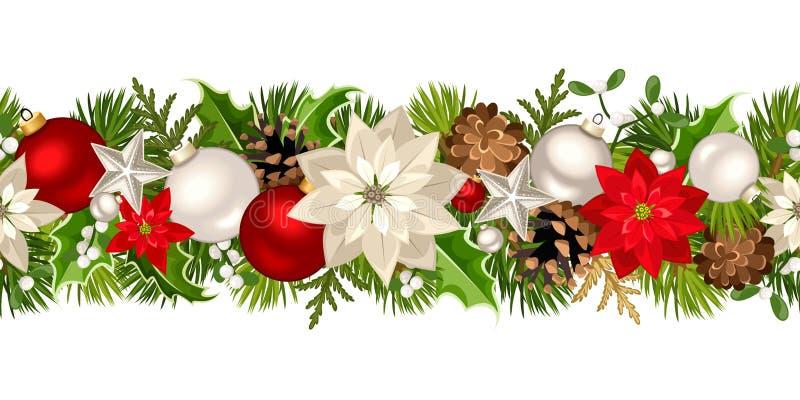 Гирлянда рождества безшовная с красными и белыми украшениями также вектор иллюстрации притяжки corel иллюстрация штока