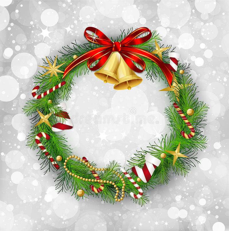 Гирлянда рождества с колоколами и ягодой падуба иллюстрация вектора
