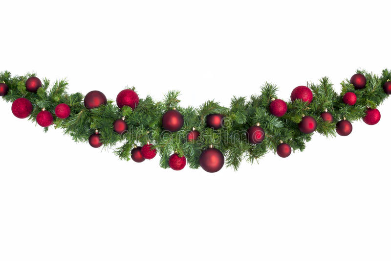 Гирлянда рождества с красными безделушками стоковое изображение
