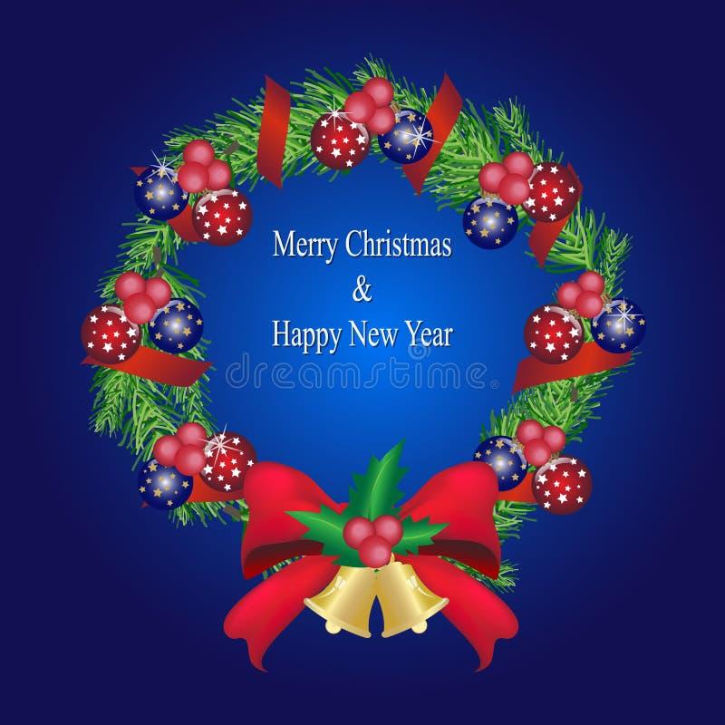 Download Гирлянда сосны рождества с шариками и красным украшением смычка, сосной W Иллюстрация вектора - иллюстрации насчитывающей мило, икона: 81812402