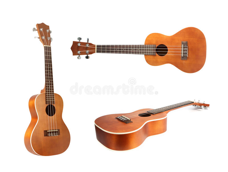 Гитара гавайской гитары на белой предпосылке стоковая фотография rf