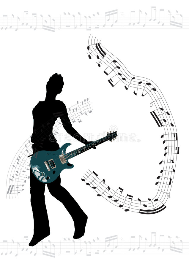 гитара девушки предпосылки иллюстрация штока