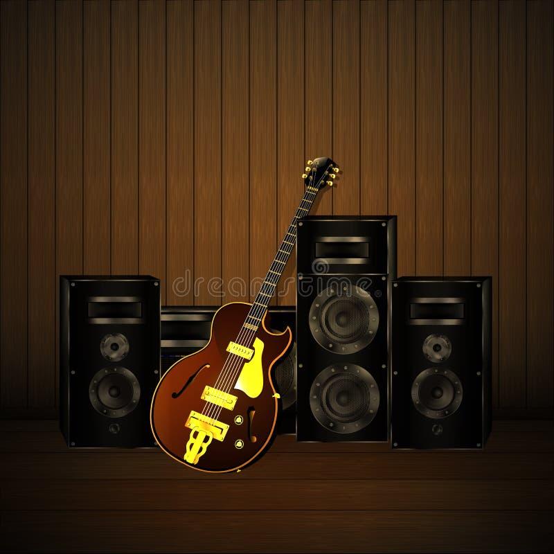 Гитара и дикторы джаза на деревянной предпосылке бесплатная иллюстрация